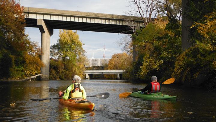Paddling the Swan Creek  under I-75  11-04-2013