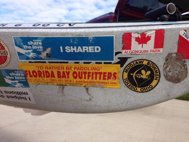 John's kayak w stickers 2