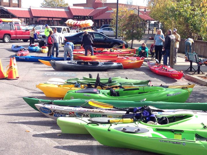 Swan Creek Kayaks in parking lot